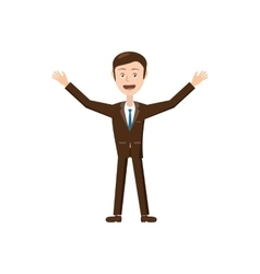 Businessman with raised arms icon cartoon style vector image