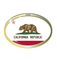 California state flag oval button vector