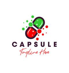 capsule molecule inspiration logo vector image
