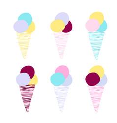 cartoon ice cream cone cutout in retro style vector image