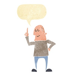 Cartoon man pointing finger with speech bubble vector