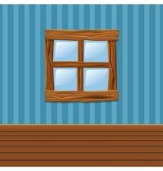 Cartoon Wooden old window Home Interior vector