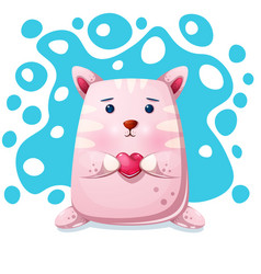 cat kitty character love vector image