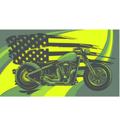 chopper motorcycle with american flag vector image