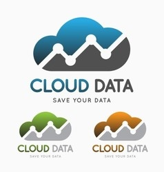 Cloud data technology logo concept vector