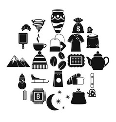 Coffee cup icons set simple style vector