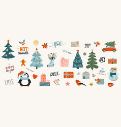 collection christmas decorations holiday gifts vector image