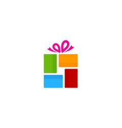 color gift logo icon design vector image