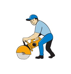 Construction Worker Concrete Saw Cutter Isolated vector