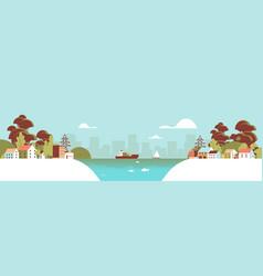 Cross section urban city landscape horizontal vector