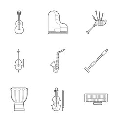 Device for music icons set outline style vector
