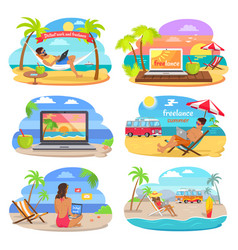 distants work and summer freelance banners vector image