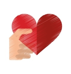 Drawing hand with red heart romantic valentines vector