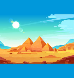 egyptian pyramids landscape cartoon vector image