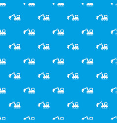Excavator pattern seamless blue vector