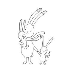 Family of cute cartoon rabbits Funny animals vector
