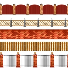 Fence Seamless Border Set vector