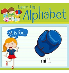 Flashcard letter M is for mitt vector