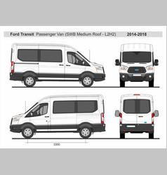 Ford transit passenger van l2h2 2014-2018 vector