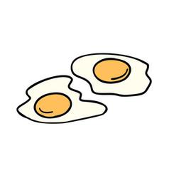 fried eggs morning breakfast vector image