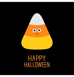 Funny candy corn with face happy halloween card vector