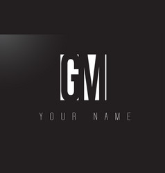 gm letter logo with black and white negative vector image