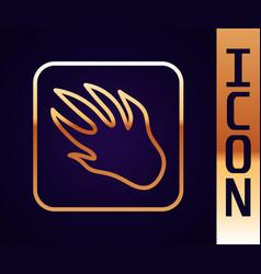 Gold line alligator crocodile paw footprint icon vector