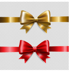 Golden and red ribbon bows vector