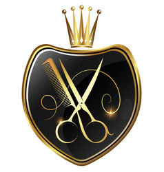 golden scissors and comb on shield symbol for vector image