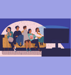 Group of friends sitting on sofa or couch in vector