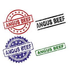Grunge textured angus beef stamp seals vector