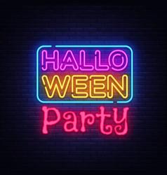 halloween party text happy halloween neon vector image