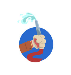 Hand holding fire hose symbol of the profession vector