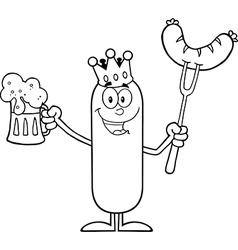 Happy King Sausage Cartoon vector image