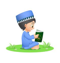 Happy muslim boy reading quran book vector