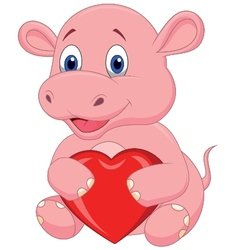 Hippo cartoon holding red heart vector image vector image
