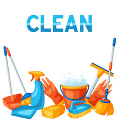 Housekeeping background with cleaning items vector