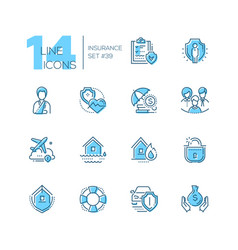 insurance - set of line design style icons vector image