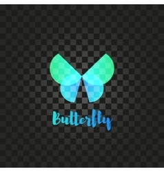 Isolated turquoise butterfly logo Insects vector image