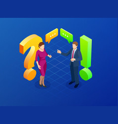 isometric question and answer concept discussion vector image
