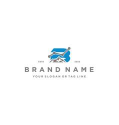 Letter b mountain finance logo design concept vector