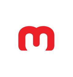 letter um negative space simple logo vector image