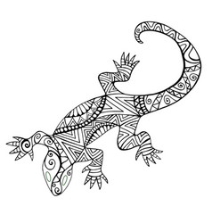 lizard with many patterns for coloring book vector image