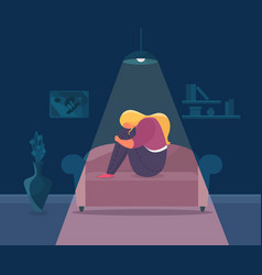 Loneliness depressed girl vector