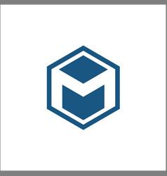 m hexagon logo abstract template vector image