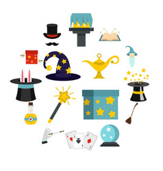 Magic icons set in flat style vector