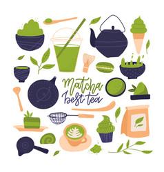 many matcha tea products matcha powder mochi vector image