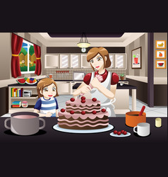 Mother daughter decorating a cake vector
