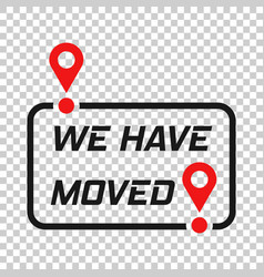 Move location icon in transparent style pin gps vector
