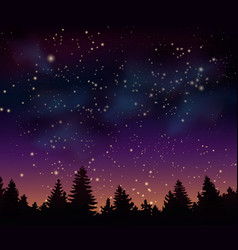 Night forest under mystical space universe vector